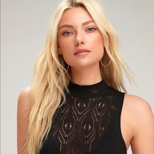 Free People Ribbed On Point Knit Mock Bodysuit M